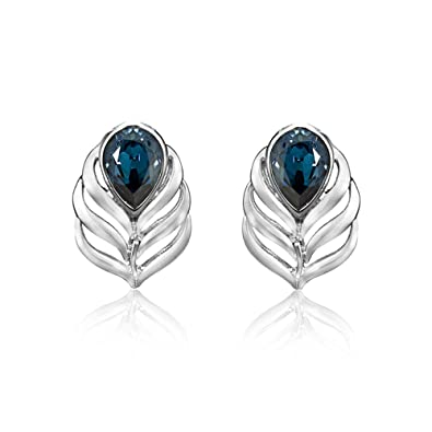 bd931c39372945 Buy Mahi Rhodium Plated Blue Drop Peacock Feather Earrings Made with  Swarovski Elements for Women ER1194108RBlu Online at Low Prices in India