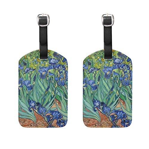 s Van Gogh Irises Flower Suitcase Labels Travel Accessories ()