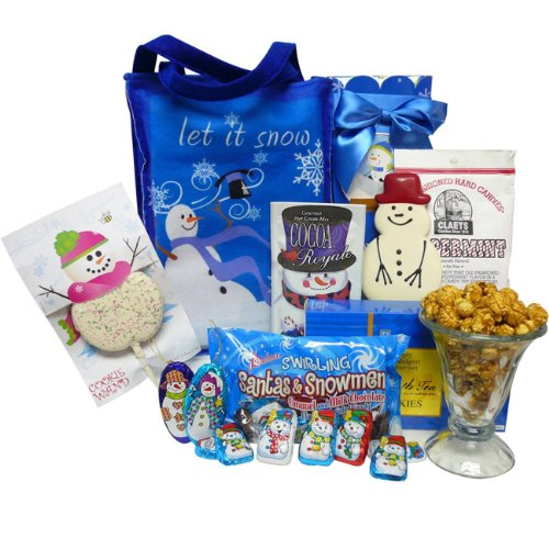Let It Snow! Snowman Christmas Holiday Gift Tote of Sweets