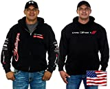 JH DESIGN GROUP Mens Dodge Challenger Hoodies with Exclusive American Flag Sticker (2X, CLG6-black)