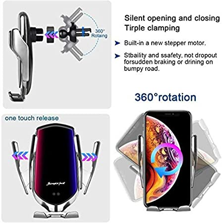 Samsung S9//S8//Note8 Silver Wireless Car Charger 10W Fast Charging Car Mount Touch Sensing Automatic Retractable Clip Fast Charging Compatible for iPhone Xs Max//XR//X//8//8Plus