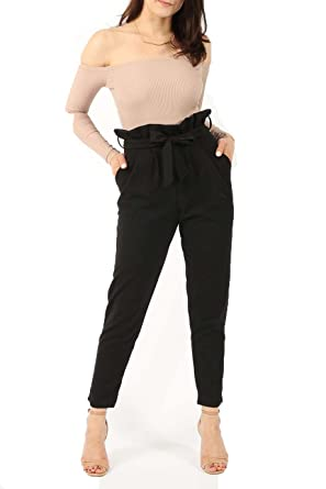 203e729a553 Clothing doc Plus Size Ladies Tapered Belted High Waist Cigarette Trousers  Pants (14