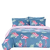 Arachnes Needle Queen Duvet Cover Set, 3 Piece (1 Duvet Cover and 2 Pillowcases) Comforter Cover Animal Botanical Print Bedding Set Living Room Decor Blue