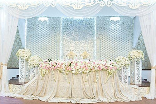 Laeacco 10x6.5ft Vinyl Backdrop Photography Background Wedding Decoration Table Chair Bride Groom Glowers Tulle Luxury Flowers Vine White Curtain Scene Friend Family Backdrop Photo Studio Props -