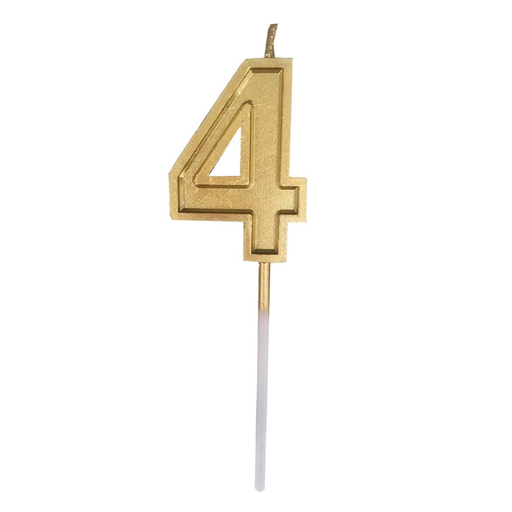 Fxbar, Gold Number Birthday Numeral Candles Cake Decor Birthday Candles 0-9 Molded Number Candlesc (D)