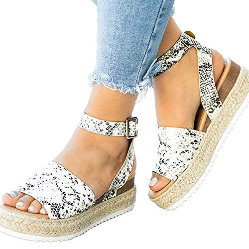 Athlefit Women's Platform Sandals Espadrille Wedge Ankle Strap Studded Open Toe Sandals Size 10.5 Python