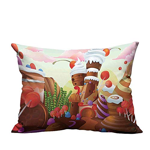 YouXianHome Pillow Case Cushion Cover Charlies Chocolate Fabric Like Print with Lollipops Creams and Cakes Image Printing Dyeing (Double-Sided Printing) 20x35.5 inch
