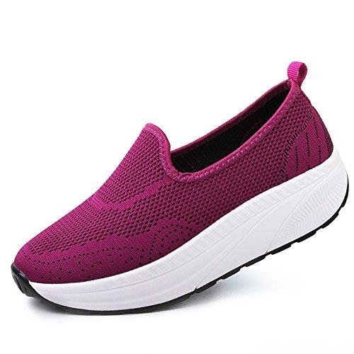 SHINIK Zapatos de mujer de primavera verano de punto zapatos de sacudidas respirables para mujer zapatillas de deporte de fondo grueso Slip On Lazy Shoes para viajes casuales D