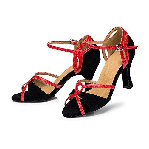misu , Damen Tanzschuhe Mehrfarbig Rot/Schwarz