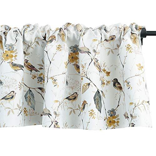 VOGOL Lovely Birds Vines Printed Curtains Valance, Rod Pocket Valances for Windows for Kitchen Farmhouse, 52 x 18 Inch (Bird-Grey)