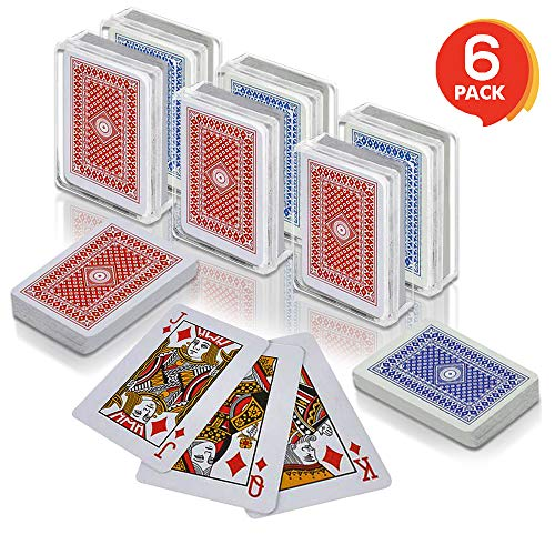 Gamie 2.5 Inch Mini Playing Cards - Pack of 6 Decks - Miniature Card Set - Small Casino Game Cards for Kids, Men, Women - Novelty Gift, Magic Party Favor for Boys and Girls, Decoration Idea