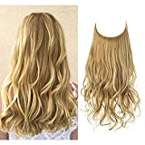 Short Halo Hair Extension Highlights Wavy Curly Synthetic Hair Piece Dark Blonde With Beach Blonde 14 Inch 3.7 Oz Adjustable Transparent Wire Headband for Women No Clip SARLA