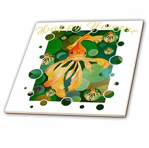(3dRose Taiche - Greeting Card - Happy Nowruz - Happy Nowruz Persian New Year Goldfish In Green Sea - 6 Inch Ceramic Tile (ct_275640_2))