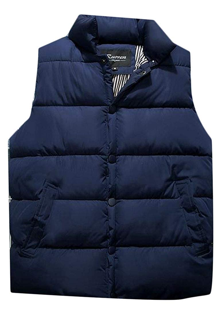 203e025c0fb XTX Men's Quilted Snap Button Stand Collar Warm Fall Winter Puffer Vest  Down Vest at Amazon Men's Clothing store: