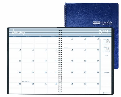 House of Doolittle 14 Months December 2010 to January 2012 Monthly Planner, 8.5 x 11 Inch, Blue Leatherette Cover, Wire Bound, Recycled (HOD26207)