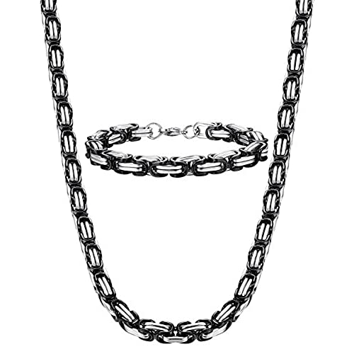 3ea3c5f75390 Sailimue 8MM Acero Inoxidable Collar y Pulsera para Hombre Cadena Bizantina Collar  Gotico Biker Negro