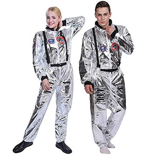 AREIA Unisex Halloween Astronaut Spaceman Cosplay Costume (XXL) Silvery