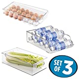 mDesign Refrigerator Storage Organizer Bin, Covered Egg Holder,...