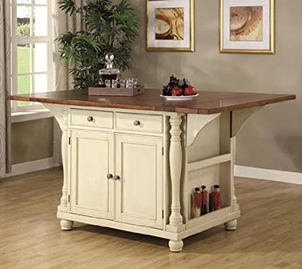 Superbe Coaster Large Scale Kitchen Island In A Buttermilk And Cherry Finish
