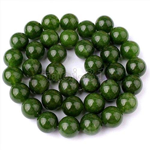 10mm Genuine Natural Nephrite Green Jade Round Gemstone Loose Beads 15'' AAA - Nephrite Jade Gemstone