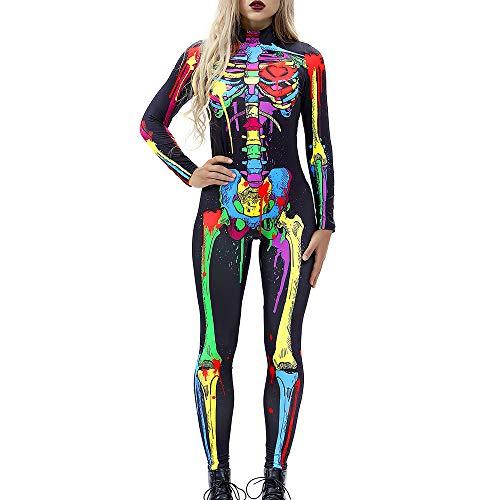 Carprinass Skeleton Bodysuit Adult Catsuit Halloween Fancy Dead Cosplay Costume ()