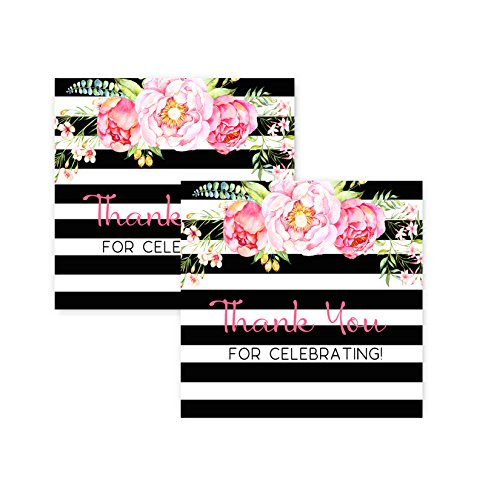 Black Stripe & Floral Party Favor Tags Baby Shower or Wedding, 25 (Floral Gift Bags)