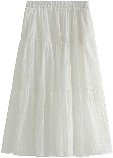Andouy Falda larga larga de tul elegante vintage Maxi falda pastel ...