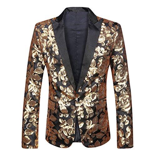 (PYJTRL Men Stylish Satin Face Sequins Floral Pattern Suit Jacket Blazer (Black Closure Collar, S/38R))