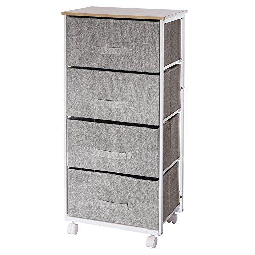 Stauraum-Kommode-mit-4-Schubladen-und-Rollen-praktisches-Design-Farbe-meliertes-GRAU-TAUPE