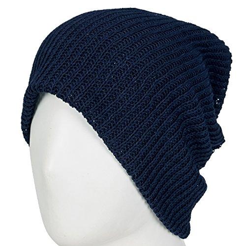 ililily Netted Multi-purpose Summer Skull Beanie Reversible Neck Snood Navy blue