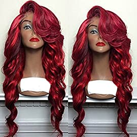 PlatinumHair Lace Front Wigs Long Wavy Synthetic Wigs for Black Women Ombre Red Wig Heat Resistant Fiber Hair 180…