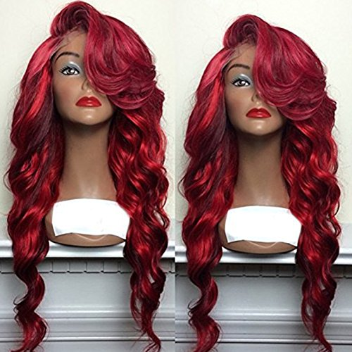 PlatinumHair Synthetic Ombre Red Wave Wigs Synthetic Lace Front Wigs Heat Resistant With Baby Hair 26Inch