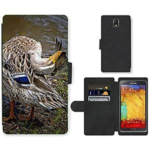 PU LEATHER case coque housse smartphone Flip bag Cover protection // M00115495 Pluma de pato Animal del pájaro de agua // Samsung Galaxy Note 3 III N9000 N9002 N9005