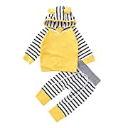 2pcs Newborn Infant Baby Boy Girls Clothes Lovely Hooded Tops+Striped Pants Outfits Set (70(0-3M), Yellow)