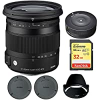 Sigma 17-70mm F2.8-4 DC Macro OS HSM Lens for Canon Mount Digital SLR Cameras (884101) with Sigma USB Dock for Canon Lens & Sandisk 32GB Extreme SD Memory Card