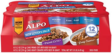 Purina ALPO Gravy Wet Dog Food Variety Pack, Beef Lover s – 12 13.2 oz. Cans