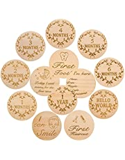 KINBOM 13pcs 4inch Baby Milestone Cards, Round Wooden Monthly Milestone Markers Double-Sided Carved Baby Photo Props Gift Sets for Newborn Infants 0-12 Months Baby Shower Growth Recording