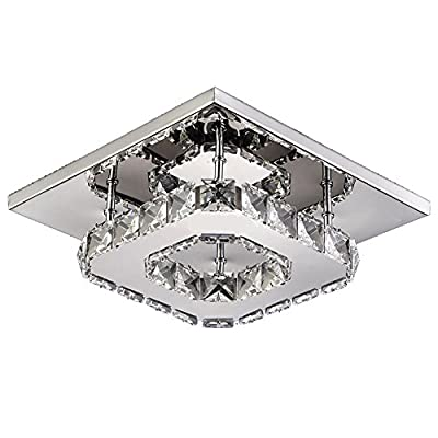 Semi Mini Modern Wall Sconces Light Crystal Chandeliers Flush Mount Ceiling Light Lamp,D8 H 5,12-18Watt Warm White Color