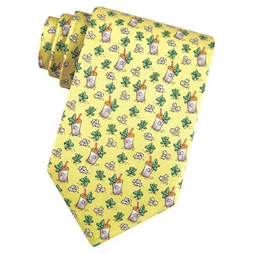 Men's 100% Silk Yellow Mint Julep Kentucky Derby Horse Racing Tie Necktie Alynn Novelty Yellow Silk Ties