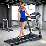 Goplus 2.25HP Electric Folding Treadmill with Incline, Walking Running Jogging Fitness Machine with Blue Backlit LCD Display for Home & Gym Cardio Fitness (Black Jaguar Ⅲ)