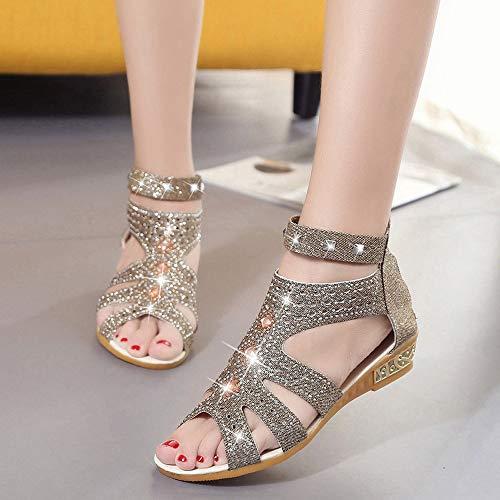 Bouche Creuses À Sandales D'été La De Chaussures Dtuta Or Femmes Poisson Romaines Mode Compensées Pour WxIzYYngB