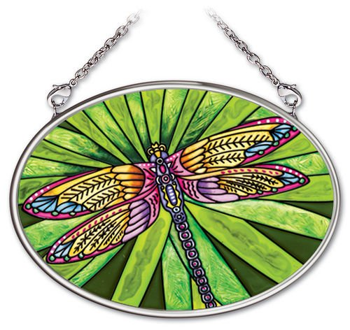 Amia 4-1/4 by 3-1/4-Inch Oval Hand-Painted Glass Suncatcher, Dramatic Dragonfly, (Dragonfly Suncatcher)