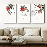 wall26 3 Panel Canvas Wall Art - Start Autumn, White Dew Grain in Ear Chinese Ink Paint Style 24 Solar Terms Series - Giclee Print Ready to Hang - 16''x24'' x 3 Panels