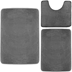 Clara Clark Memory Foam Bath Mat, Ultra Soft Non Slip and Absorbent Bathroom Rug. - Gray, Set of 3 - Small/Large/Contour