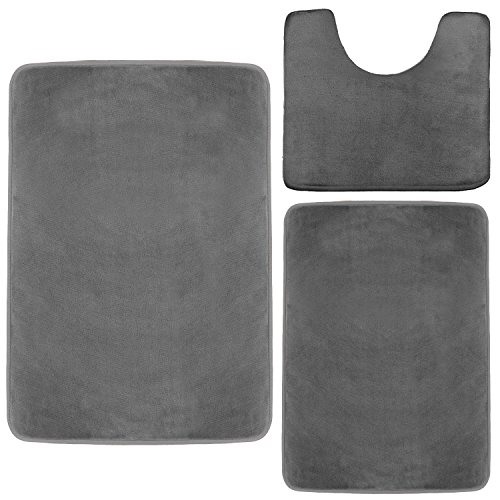 Clara Clark Memory Foam Bath Mat, Ultra Soft Non Slip and Absorbent Bathroom Rug. - Gray, Set of 3 - Small/Large/Contour -