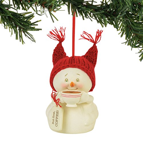 """Department 56 Snowpinions """"But First, Coffee!"""" Porcelain Snowman Hanging Christmas Ornament, 3"""""""