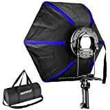 Neewer Professional Hexagonal Softbox Collapsible Diffuser 24 inches/60 centimeters with Handle Grip for Speedlight Flash for Studio Portrait and Product Photography (Black/Blue)