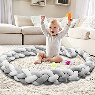 Mamibaby Baby Crib Bumper Knotted Braided Bumper Handmade Soft Newborn Gift Crib Protector (Gray-White, 9.8Feet)