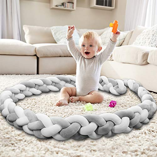 Baby Crib Bumper Knotted Braided Bumper Handmade Soft Knot Pillow Nursery Cradle Decor Newborn Gift Crib Protector (4 Strands with Gray-White, 118 inc