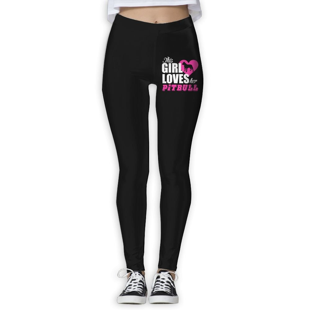 DDCYOGA This Girl Loves Her Pitbull Womens Fold Over Yoga Leggings Dance Athletic Sport Pants For Girls